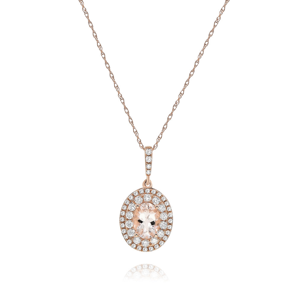 Oval Morganite With Double Halo Pendant And Pave Bail