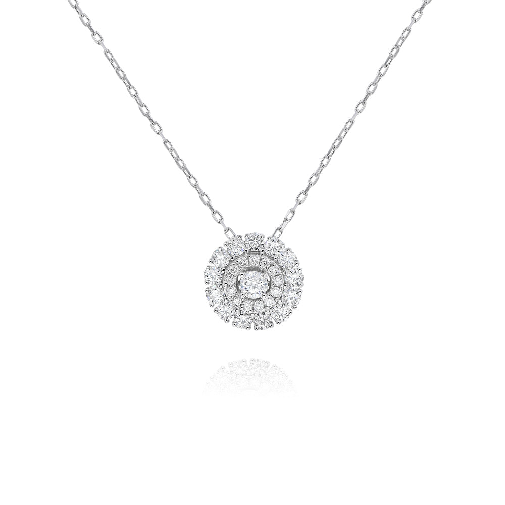 "Double Diamond Halo Necklace-17"" Chain"