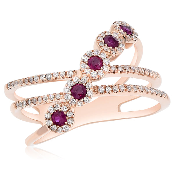 Ruby Rounds With Diamond Halos Ring