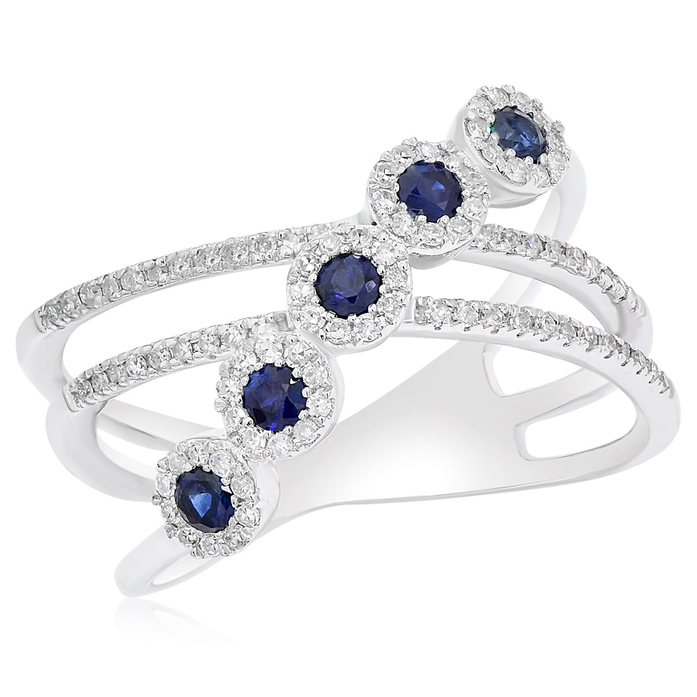 Sapphire Rounds With Diamond Halos Ring