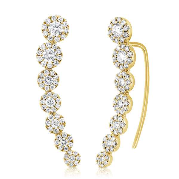 Round Halo Diamond Climber Earrings