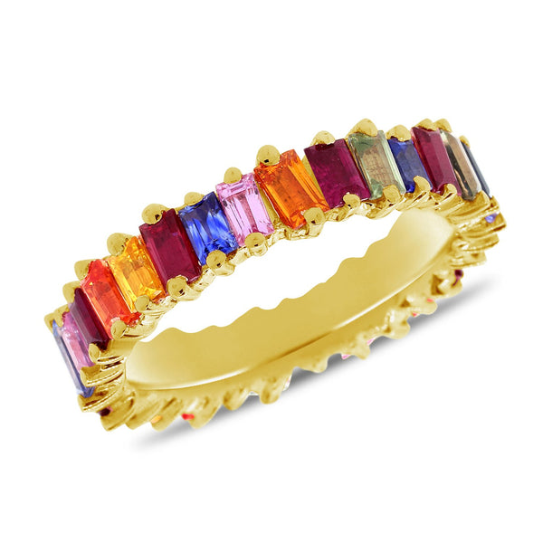 Mixed Colored Stone Baguette Ring