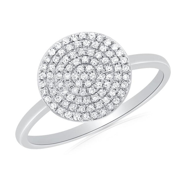 Pave Diamond Round Circle Ring