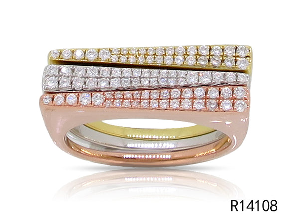 Tricolor Stack of Pave Diamond Straight Bands-SET