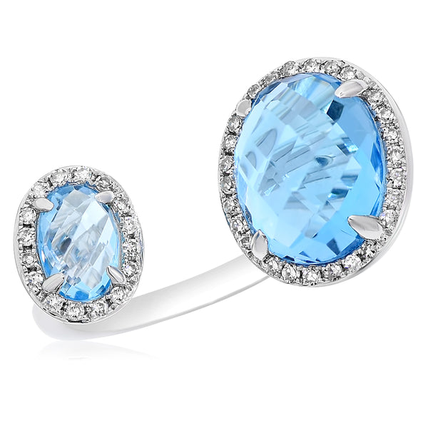 Double Oval Blue Topaz Open Ring