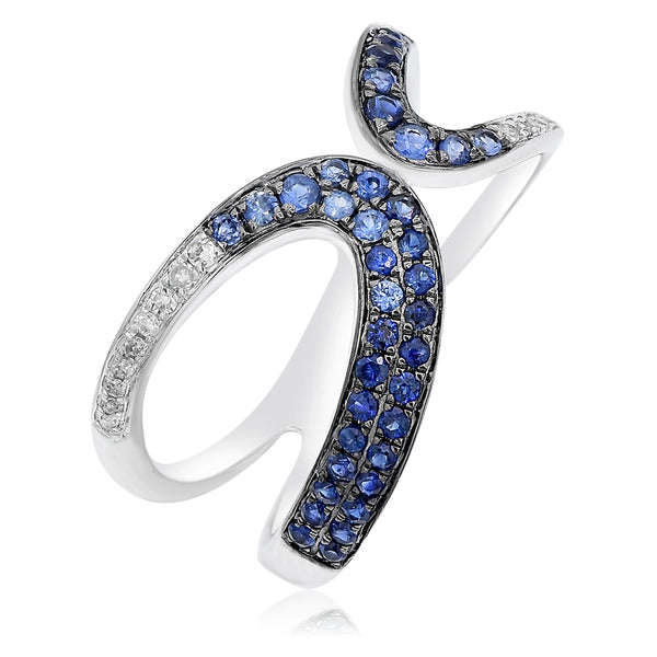 Sapphire and Diamond Meet Up Ring