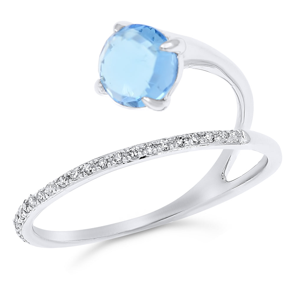 Blue Topaz and Diamond Wrap Ring