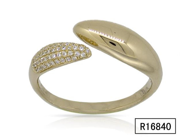 Open Claw Ring With One Side Pave Diamonds