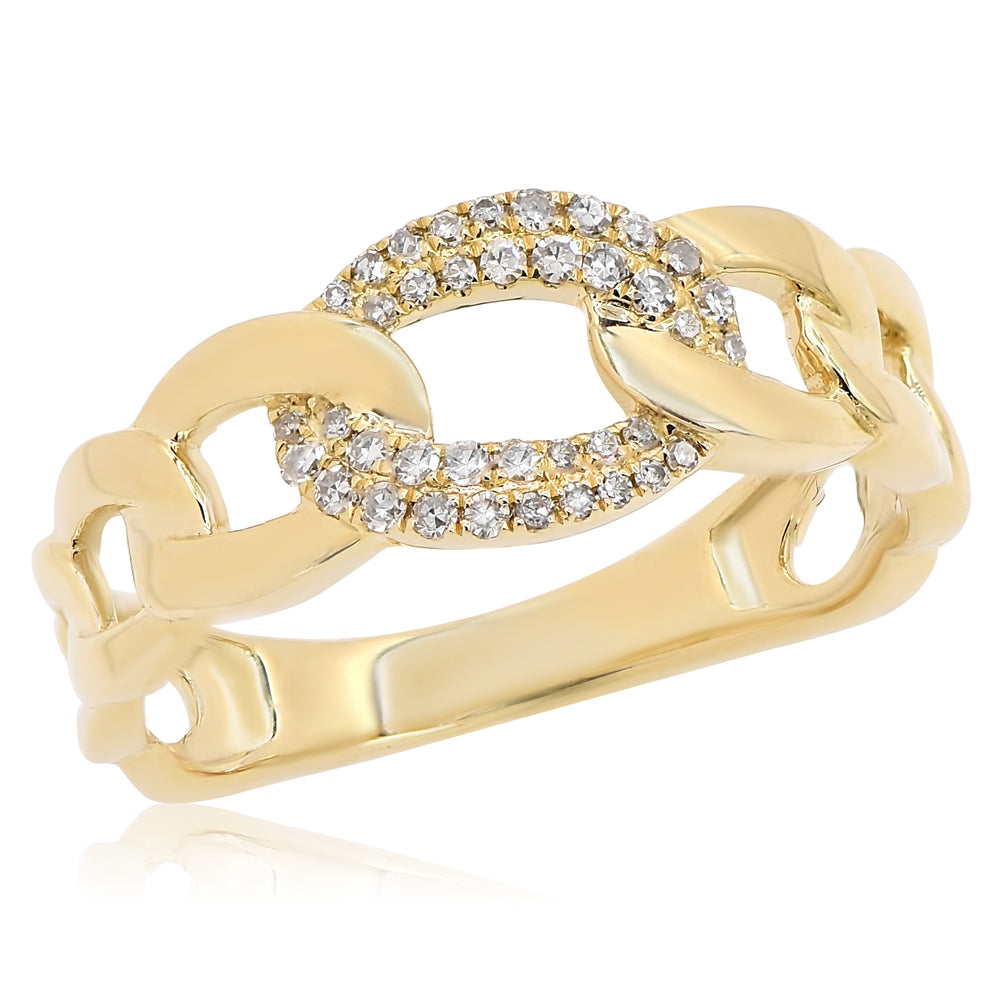 Chain Ring With Diamond Link
