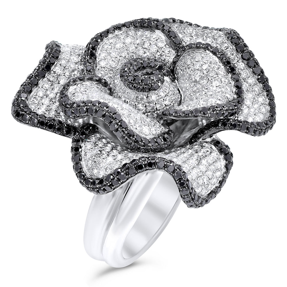 Black & White Diamond Pave Rose Ring