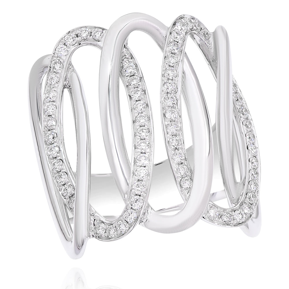 Swirl Ring with Diamonds