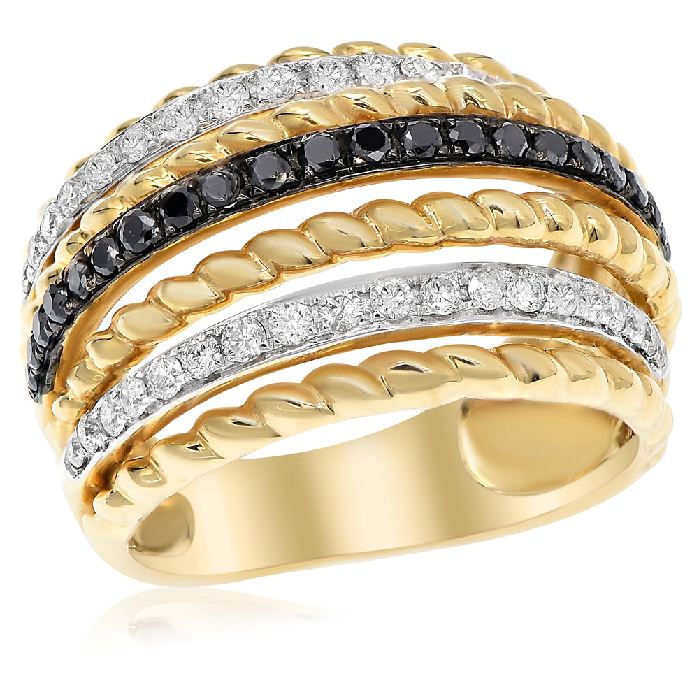 White & Black Diamond Yellow Gold Band Ring