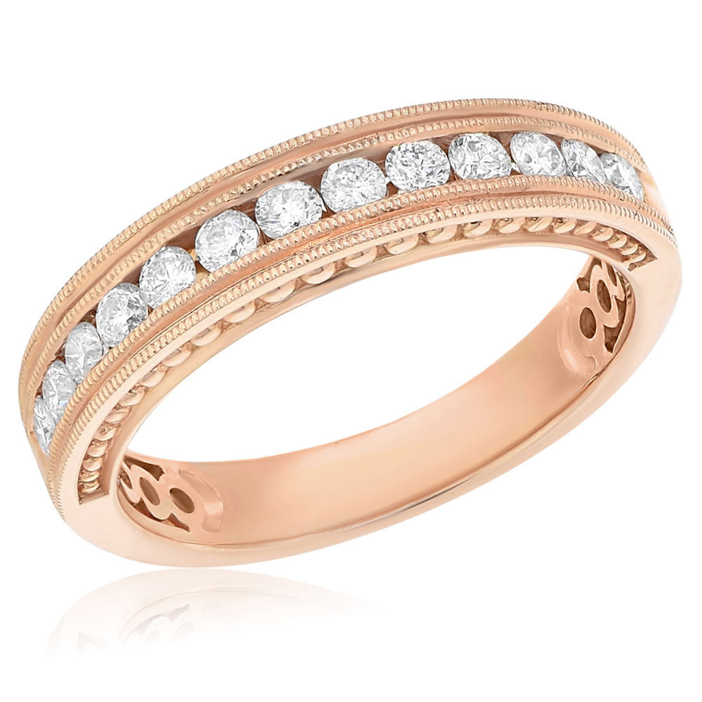 Rose Gold Diamond Filagree Band
