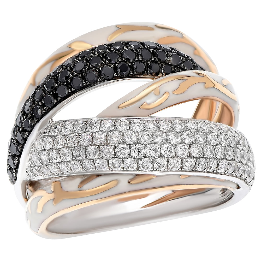 Black and White Diamond Rose Gold Wrapping Band Ring