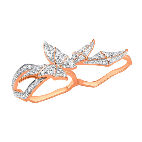 Rose Gold Two Finger Butterfly Ring With Diamonds