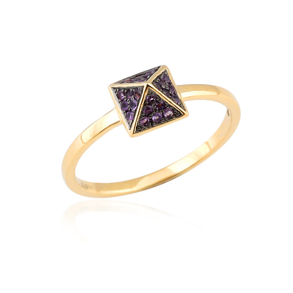 Rose Gold And Amethyst Pointed Stud Ring