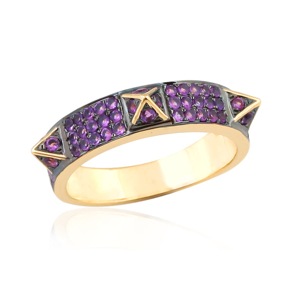 Amethyst Pointed Three Stud Ring