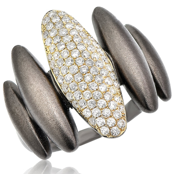 Black Mountain Ring With Yellow Gold And Pave Diamond Center