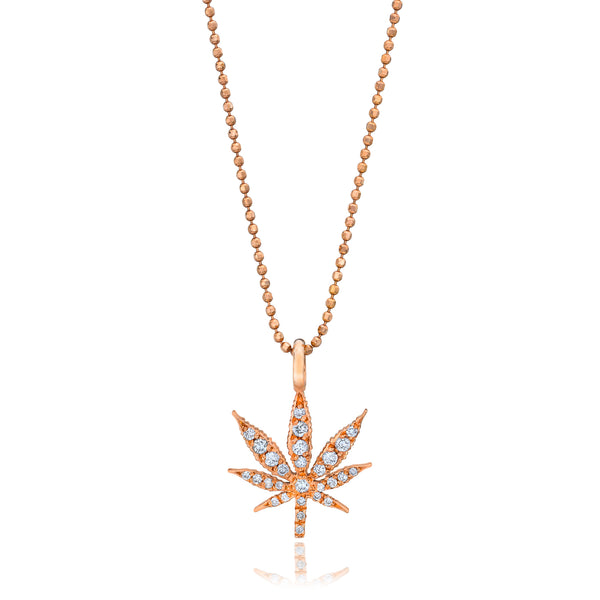 Large Gold Cannabis Flower Pendant Necklace With Diamonds