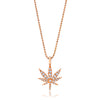 Small Gold Cannabis Flower Pendant Necklace With Diamonds