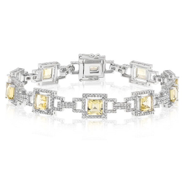 Antique Style Lemon Quartz And Diamond Bracelet