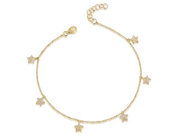 Diamond Pave Star Charm Bracelet