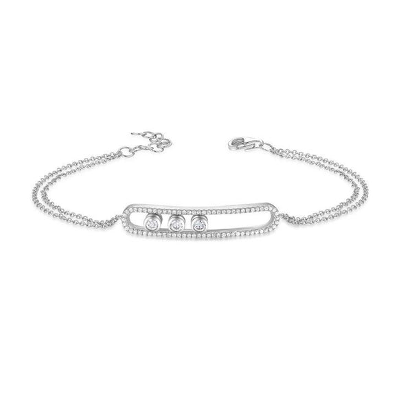 Floating Diamond ID Bracelet