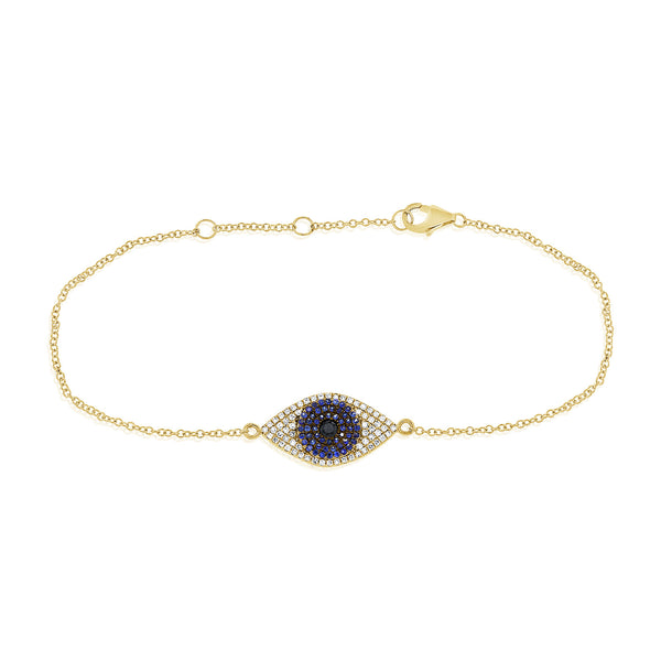 Diamond And Sapphire Evil Eye Bracelet
