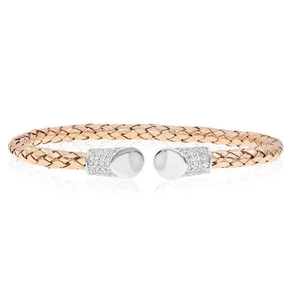 Rose Gold Woven Cuff Bracelet With Pave Diamond Tips