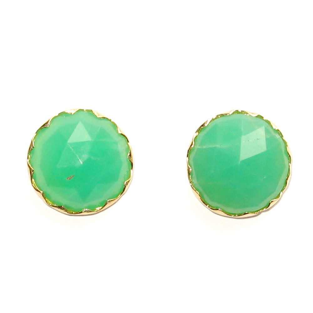 Chrysophase Faceted Yellow Gold Stud Earrings