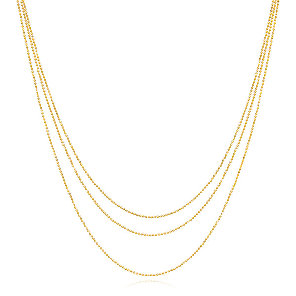 Gold Three Strand Nested Faceted Ball Necklace
