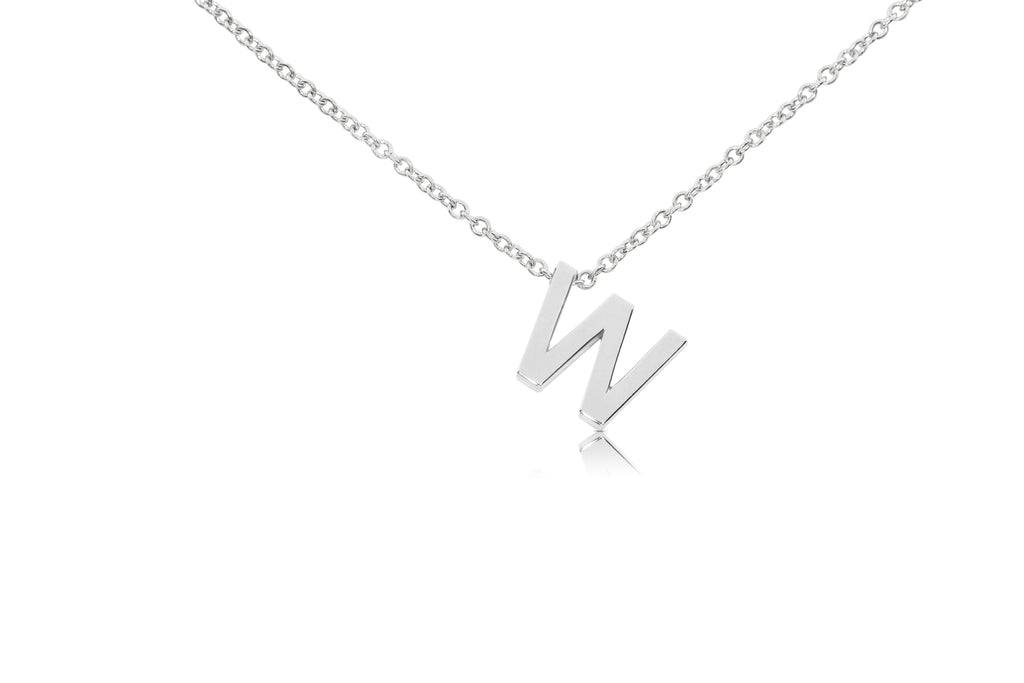 Large Block Initial Pendant Necklace