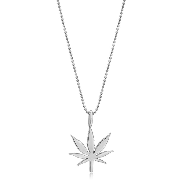Large Gold Cannabis Flower Pendant Necklace