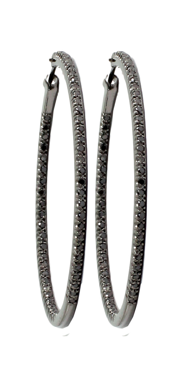 Black Diamond Pavé Hoop Earrings