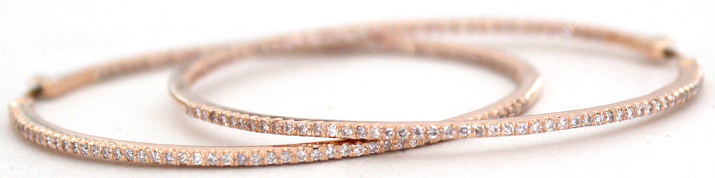Large Pink Diamond Pavé Hoop Earrings