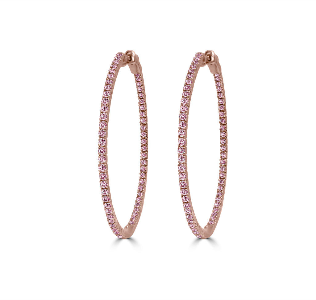 Pink Diamond Pavé Hoop Earrings