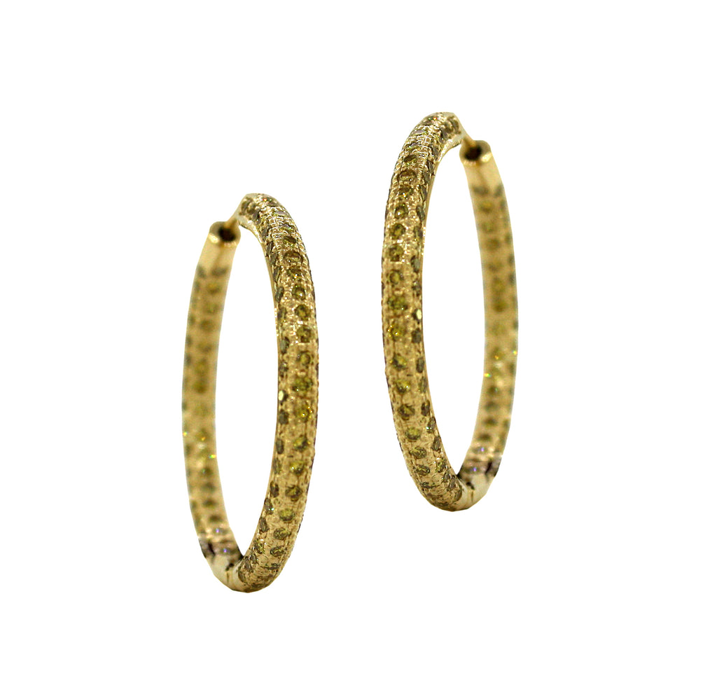 Yellow Diamond Pave Hoop Earrings