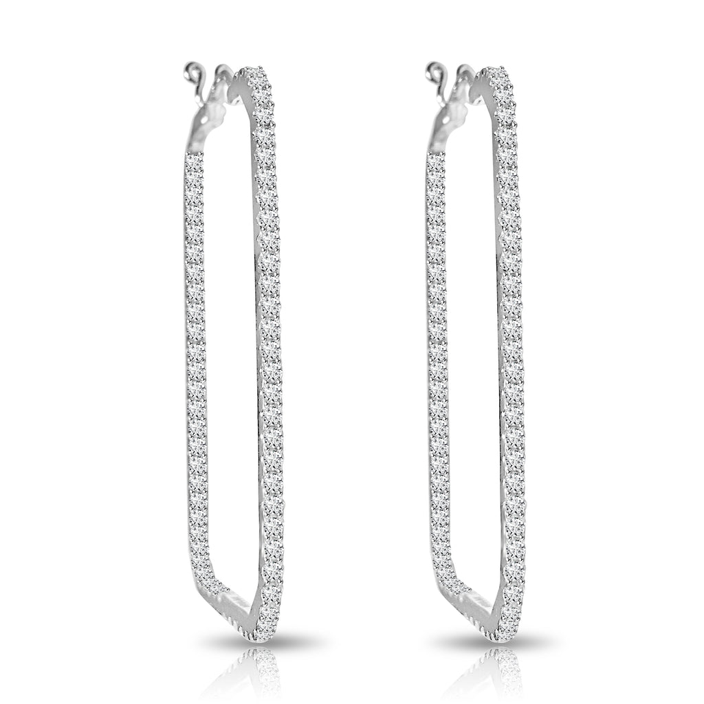 Rectangle Diamond Pavé Hoop Earrings