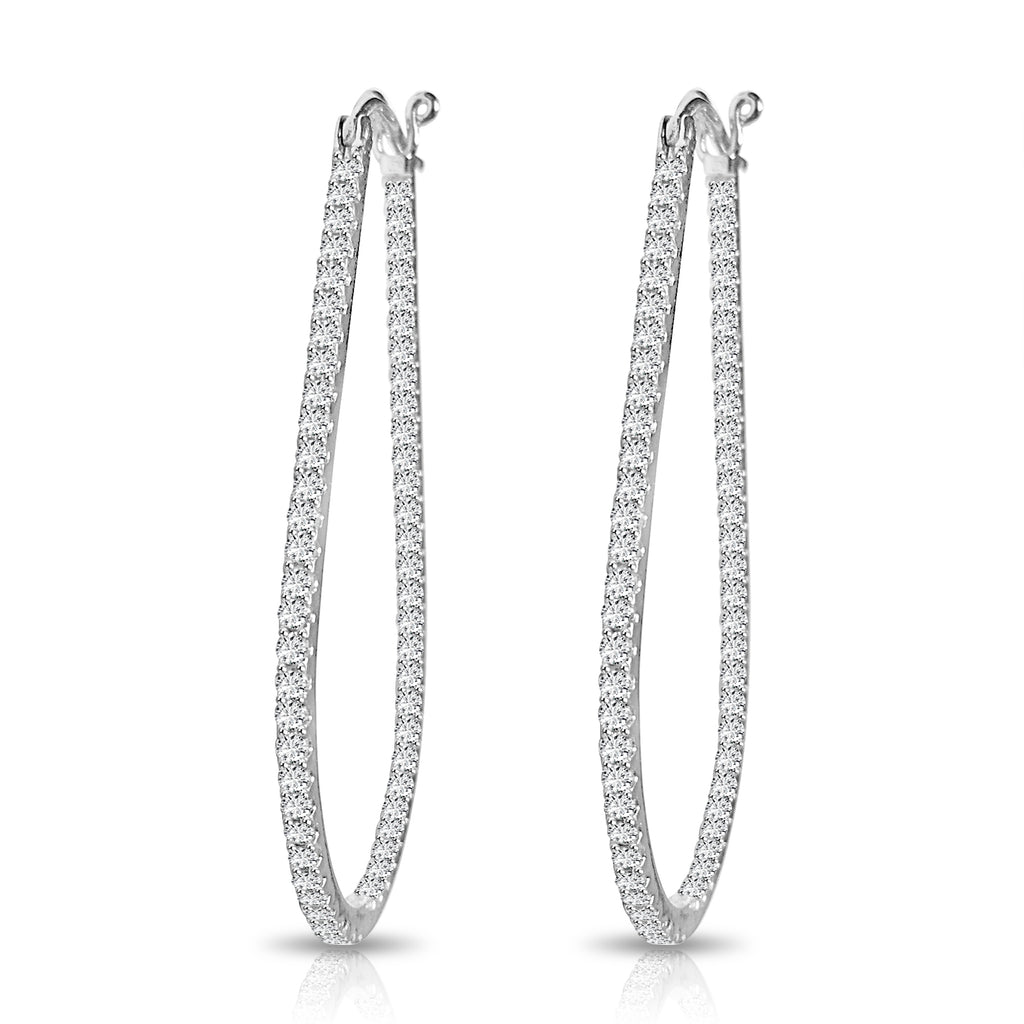 Oval Diamond Pavé Hoop Earrings