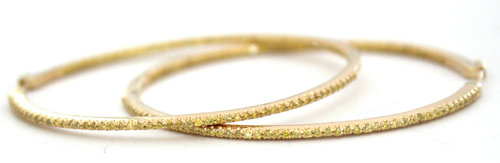 Large Yellow Diamond Hoop Earrings