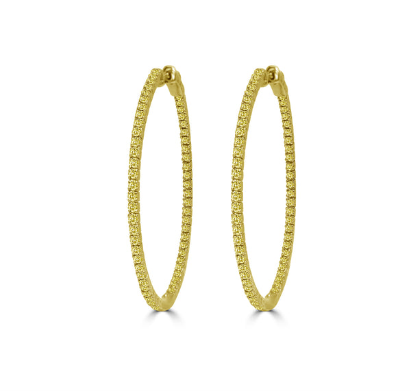Yellow Diamond Pavé Hoop Earrings