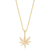Small Gold Cannabis Flower Pendant Necklace