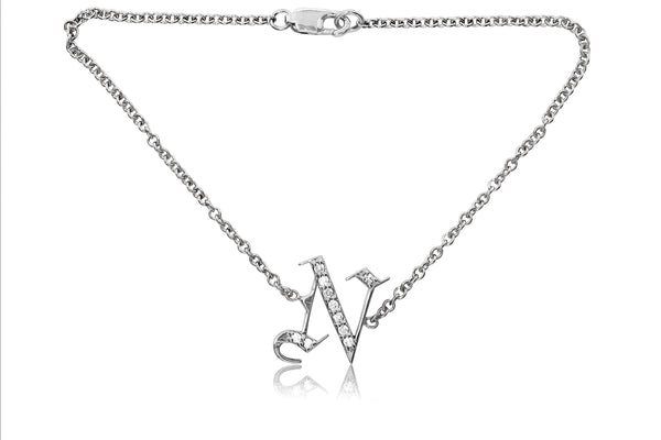 Gothic Diamond Letter Single Initial Bracelet
