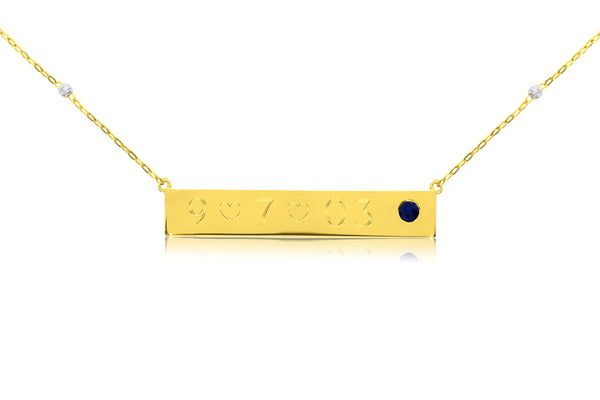 Bar Necklace With Two Tone Chain and Choice of Stone