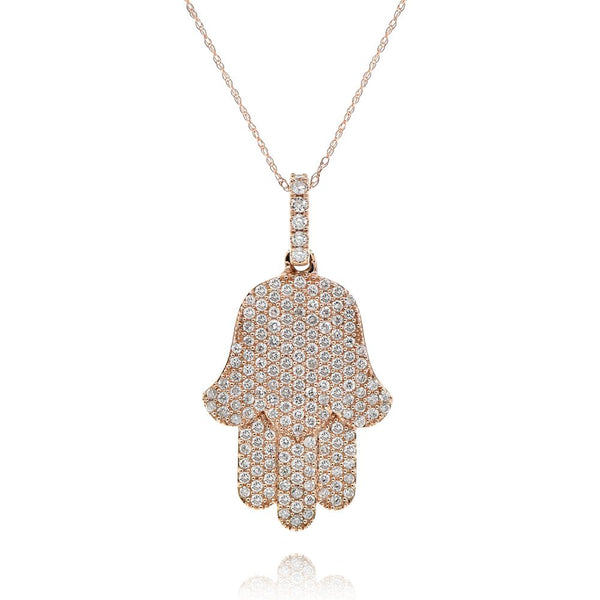Rose Gold Pave Hamsa-33mm Length