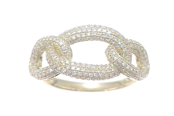 Three Link Pave Diamond Ring
