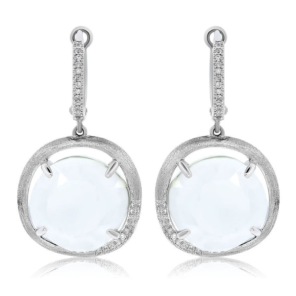 White Gold Colored Stone Drop With Sprinkle of Diamonds