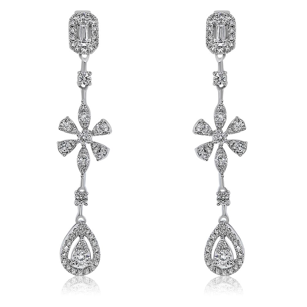 Round And Baguette Diamond Drop Earrings