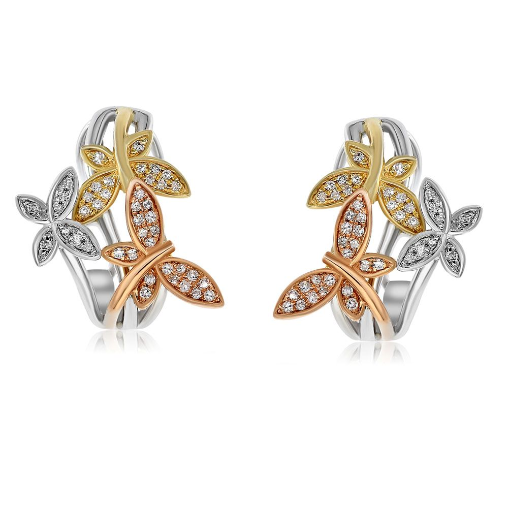 Tri-Color Butterfly Earrings With Diamonds
