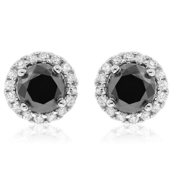Black Diamonds Round Stones With White Diamond Halo